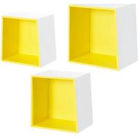 Wonen Manden en dozen Furniteam Design Wandkubussen Wit en geel