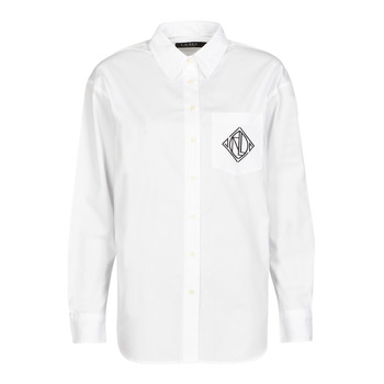 Textiel Dames Overhemden Lauren Ralph Lauren BRAWLEY-LONG SLEEVE-BUTTON FRONT SHIRT Wit