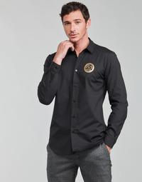 Textiel Heren Overhemden lange mouwen Versace Jeans Couture SLIM PRINT V EMBLEM GOLD Zwart / Goud