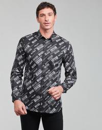 Textiel Heren Overhemden lange mouwen Versace Jeans Couture SLIM PRINT WARRANTY Zwart / Wit