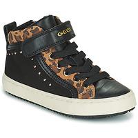 Schoenen Meisjes Hoge sneakers Geox KALISPERA Zwart / Luipaard