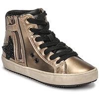 Schoenen Meisjes Hoge sneakers Geox KALISPERA Goud / Zwart