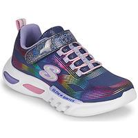Schoenen Meisjes Lage sneakers Skechers GLOW-BRITES Marine / Led