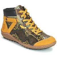 Schoenen Dames Laarzen Rieker LONGTER Geel / Zwart
