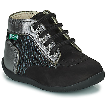Schoenen Meisjes Laarzen Kickers BONZIP-2 Zwart / Zilver