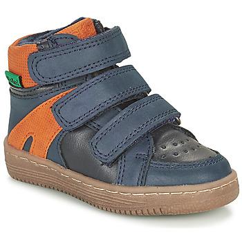 Schoenen Jongens Laarzen Kickers LOGGAN Marine / Oranje