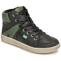 Schoenen Jongens Hoge sneakers Kickers LOWELL Zwart / Groen