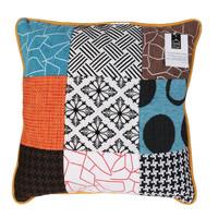 Wonen Kussens The home deco factory PATCHWORK Wit / Zwart / Oranje / Turquoize / Bruin
