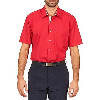 Textiel Heren Overhemden korte mouwen Pierre Cardin CH MC POPELINE UNIE - OPPO RAYURE INTERIEUR COL & POIGNET Roze / Rood