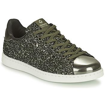 Schoenen Dames Lage sneakers Victoria TENIS GLITTER Kaki / Zilver