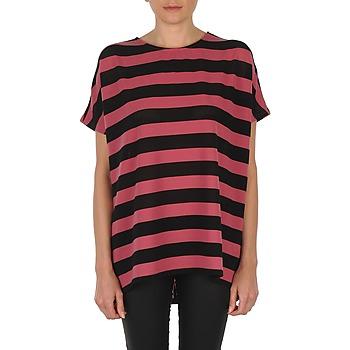 Textiel Dames T-shirts korte mouwen Vero Moda CHELLA 2/4 LONG TOP KM Zwart / Roze