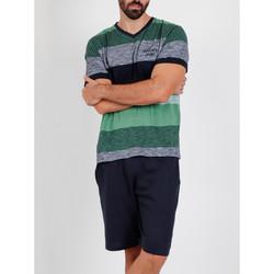 Textiel Heren Pyjama's / nachthemden Admas For Men Pyjama kort t-shirt Scratch Antonio Miro groen Admas Donkergroen