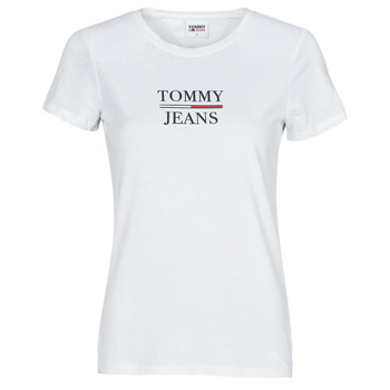 Textiel Dames T-shirts korte mouwen Tommy Jeans TJW SKINNY ESSENTIAL TOMMY T SS Wit