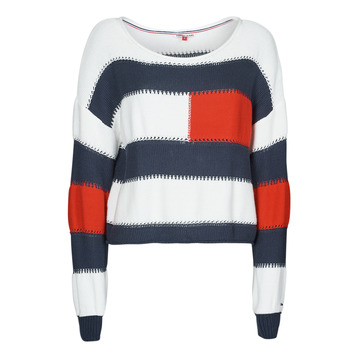Textiel Dames Truien Tommy Jeans TJW  RWB STRIPE SWEATER Blauw / Wit / Rood