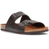 Schoenen Heren Leren slippers Interbios COMFORTABELE  SANDAAL 9560 MOKA