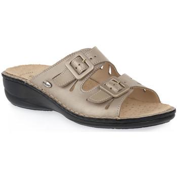 Schoenen Dames Leren slippers Grunland PLATINO 68 SARA Beige