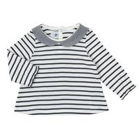 Textiel Meisjes T-shirts met lange mouwen Petit Bateau HOLINU Wit / Blauw