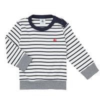 Textiel Jongens T-shirts met lange mouwen Petit Bateau IGRAE Wit / Blauw