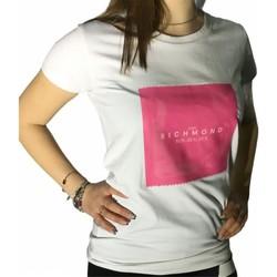 Textiel Dames T-shirts korte mouwen Richmond Sport UWP21167TS White/Fuchsia