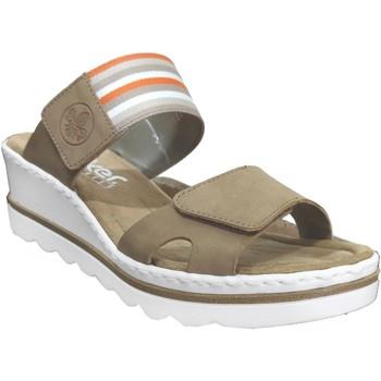 Schoenen Dames Leren slippers Rieker 67490 Beige