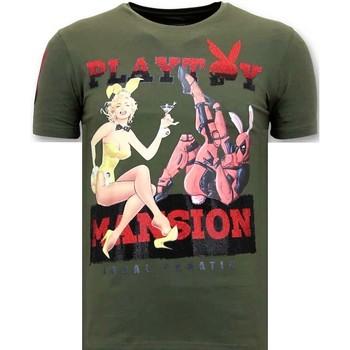 Textiel Heren T-shirts korte mouwen Lf Stoere The Playtoy Mansion Groen