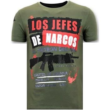 Textiel Heren T-shirts korte mouwen Lf Rhinestone Los Jefes De Narcos Groen
