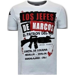 Textiel Heren T-shirts korte mouwen Lf Luxe Los Jefes De Narcos Wit