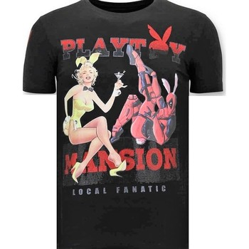 Textiel Heren T-shirts korte mouwen Lf Luxe The Playtoy Mansion Zwart