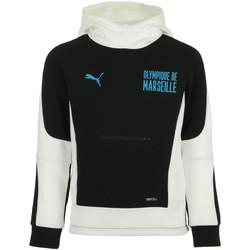 Textiel Jongens Sweaters / Sweatshirts Puma OM Evostripe Hoodie Jr Zwart