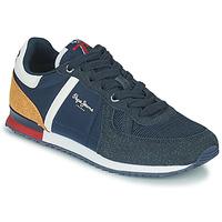 Schoenen Jongens Lage sneakers Pepe jeans SYDNEY COMBI BOY Marine / Bruin