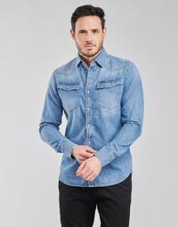 Textiel Heren Overhemden lange mouwen G-Star Raw 3301 SLIM SHIRT LS Blauw