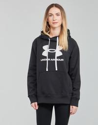 Textiel Dames Sweaters / Sweatshirts Under Armour RIVAL FLEECE LOGO HOODIE Zwart / Wit