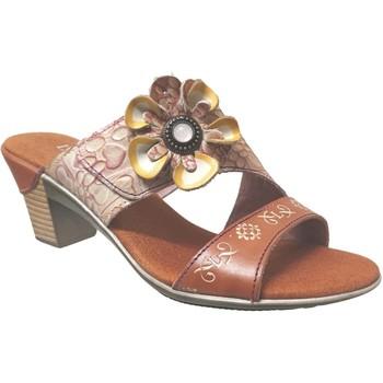 Schoenen Dames Leren slippers Laura Vita Becttinoo 91 Camel leer
