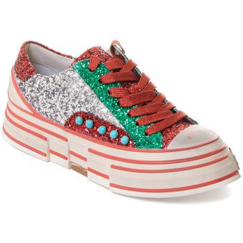 Schoenen Dames Sneakers Rebecca White T2208 |Rebecca White| D??msk?? st???brn??/?erven??/zelen?? t?pytiv?? t