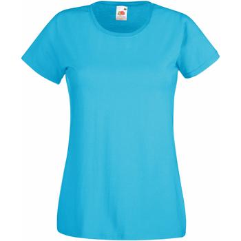 Textiel Dames T-shirts korte mouwen Fruit Of The Loom 61372 Azuurblauw