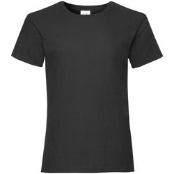 Textiel Meisjes T-shirts korte mouwen Fruit Of The Loom 61005 Zwart