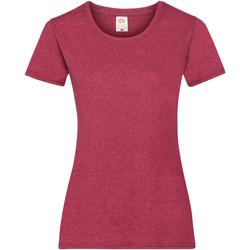 Textiel Dames T-shirts korte mouwen Fruit Of The Loom 61372 Vintage Heide Rood