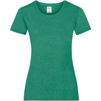 Textiel Dames T-shirts korte mouwen Fruit Of The Loom 61372 Retro Heide Groen
