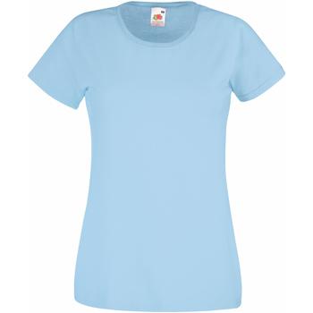 Textiel Dames T-shirts korte mouwen Fruit Of The Loom 61372 Hemelsblauw