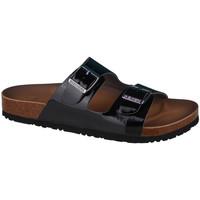 Schoenen Dames Leren slippers Skechers Granola-Gloss Floss Noir