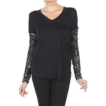 Textiel Dames T-shirts met lange mouwen Manoush TSHIRT ML INDIAN BASIC Zwart