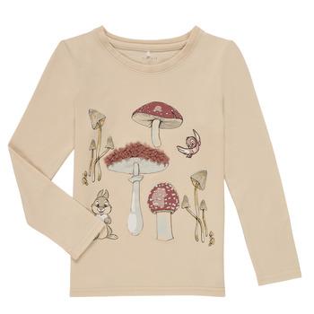 Textiel Meisjes T-shirts met lange mouwen Name it NMFTHUMPER ALFRIDA LS TOP Beige