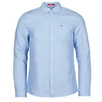 Textiel Heren Overhemden lange mouwen Tommy Jeans TJM LINEN BLEND SHIRT Blauw