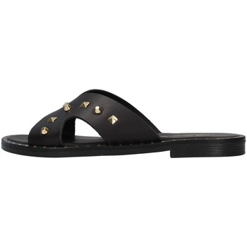Schoenen Dames Leren slippers S.piero E2-011 BLACK