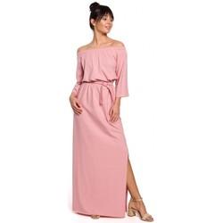 Textiel Dames Lange jurken Be B146 Off- shoulder maxi jurk - roze