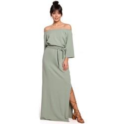Textiel Dames Lange jurken Be B146 Off- shoulder maxi jurk - pistache