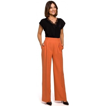 Textiel Dames Losse broeken / Harembroeken Style S203 Palazzo broek met elastiek in de taille - oranje