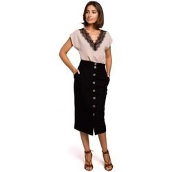 Textiel Dames Tops / Blousjes Style S206 Mouwloze top met kanten halslijn - zwart