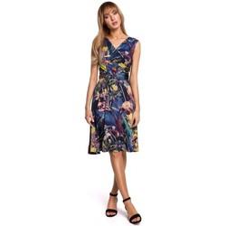 Textiel Dames Korte jurken Moe M499 Jurk met wijd uitlopende print - model 1