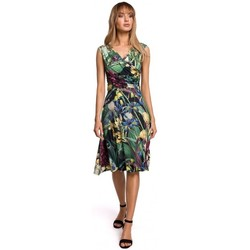 Textiel Dames Korte jurken Moe M499 Jurk met wijd uitlopende print - model 2